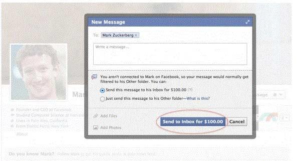 Messaggi ai vip su Facebook