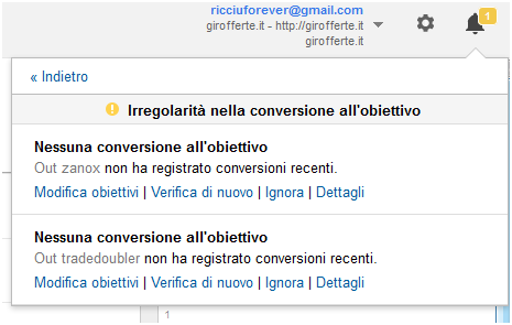notifiche in analytics