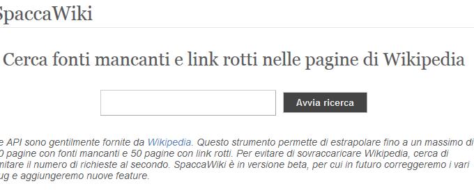 SpaccaWiki: Trova link rotti e Fonti Mancanti all'interno di Wikipedia