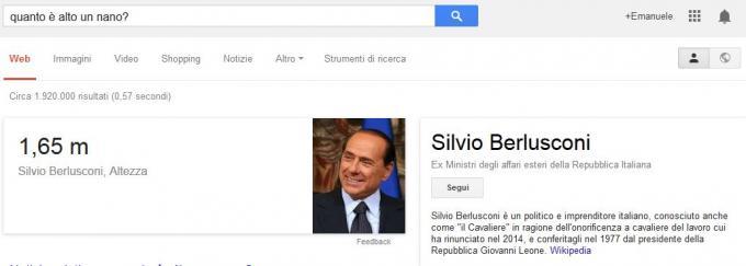 Quanto è alto un nano? = 1,65 m e si Chiama Silvio Berlusconi